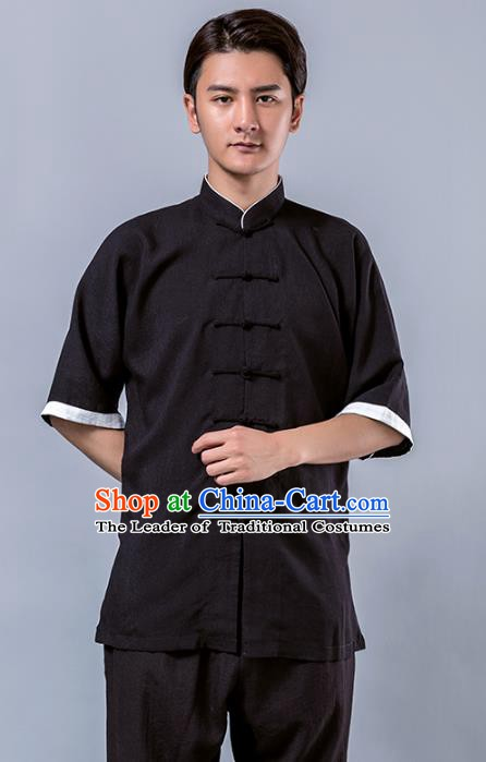 Top Grade Chinese Kung Fu Costume Tai Ji Training Black Linen Uniform, China Martial Arts Tang Suit Gongfu Clothing for Men