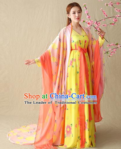 Traditional Chinese Tang Dynasty Imperial Concubine Costume, China Ancient Palace Lady Hanfu Clothing for Women