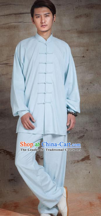 Top Grade Chinese Kung Fu Costume Tai Ji Training Blue Uniform, China Martial Arts Gongfu Clothing for Men