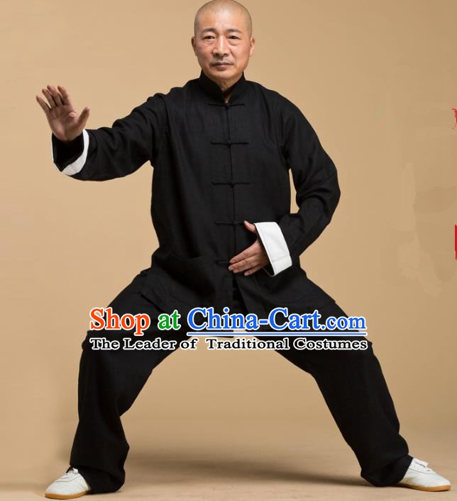 Top Grade Chinese Kung Fu Costume Tai Ji Training Linen Uniform, China Martial Arts Gongfu Black Clothing for Men