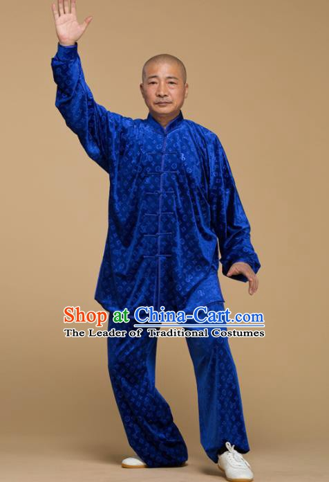 Top Grade Chinese Kung Fu Costume Tai Ji Training Pleuche Uniform, China Martial Arts Gongfu Clothing for Men