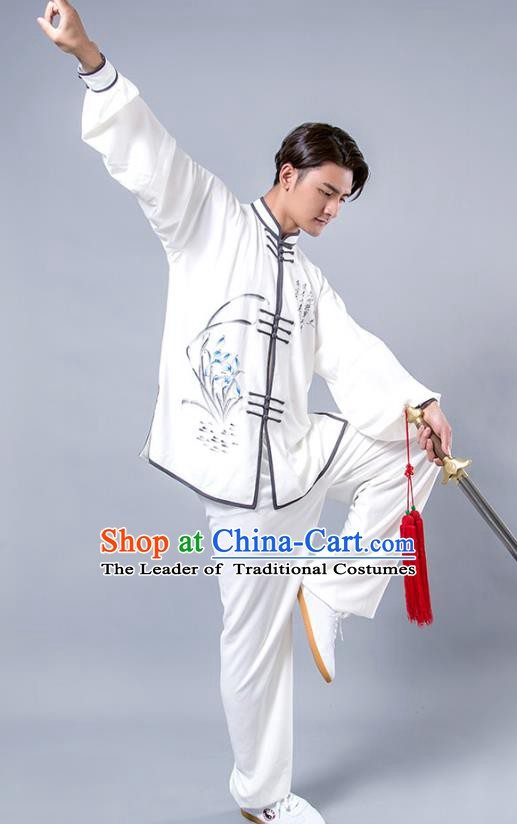 Top Grade Chinese Kung Fu Costume Tai Ji Training Printing Orchid Uniform, China Martial Arts Tang Suit Gongfu Clothing for Men