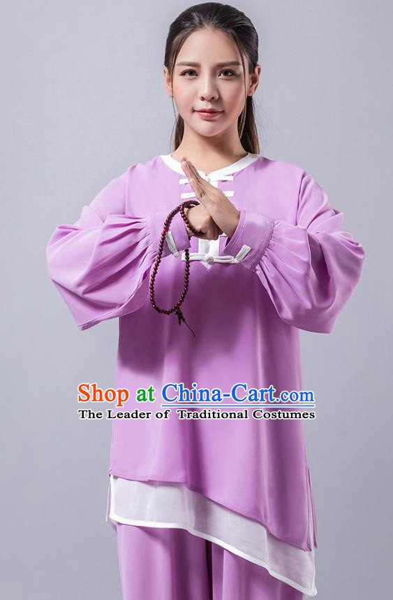 Top Grade Chinese Kung Fu Costume Martial Arts Purple Uniform, China Tai Ji Wushu Plated Buttons Clothing for Women
