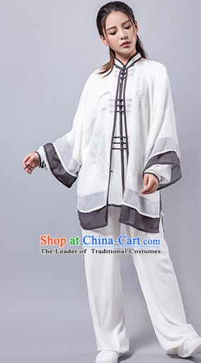 Top Grade Chinese Kung Fu Costume Martial Arts Hand Painting Uniform, China Tai Ji Wushu Clothing for Women