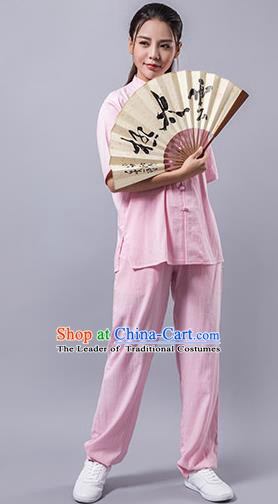 Top Grade Chinese Kung Fu Costume Martial Arts Pink Uniform, China Tai Ji Wushu Clothing for Women