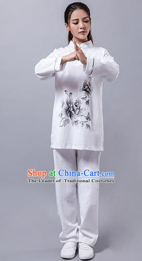 Top Grade Chinese Kung Fu Costume Martial Arts Hand Painting Peony Uniform, China Tai Ji Wushu Clothing for Women