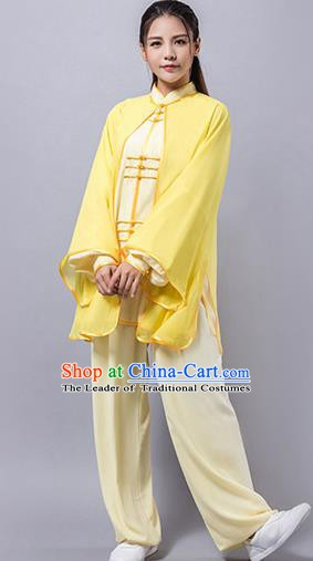 Top Grade Chinese Kung Fu Costume Martial Arts Yellow Uniform, China Tai Ji Wushu Clothing for Women