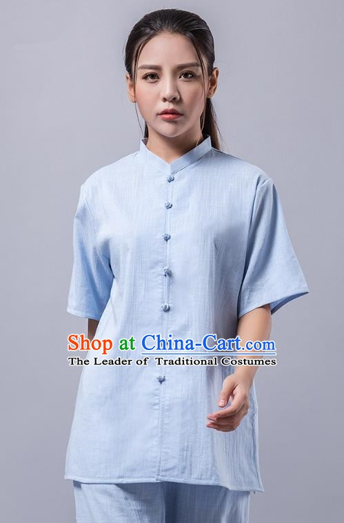 Top Grade Chinese Kung Fu Costume Martial Arts Blue Uniform, China Tai Ji Wushu Clothing for Women