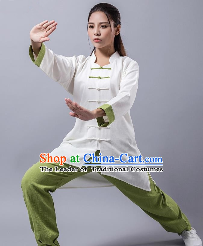 Top Grade Chinese Kung Fu Green Costume Martial Arts Linen Uniform, China Tai Ji Wushu Clothing for Women