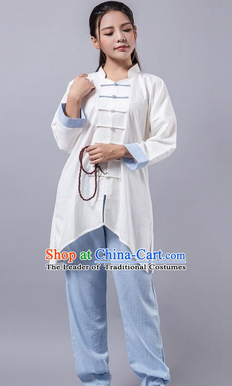 Top Grade Chinese Kung Fu Blue Costume Martial Arts Linen Uniform, China Tai Ji Wushu Clothing for Women