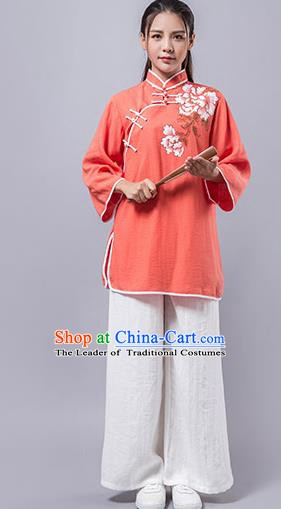 Top Grade Chinese Kung Fu Orange Costume Martial Arts Printing Peony Uniform, China Tai Ji Wushu Clothing for Women
