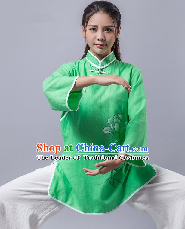 Top Grade Chinese Kung Fu Green Costume Martial Arts Printing Lotus Uniform, China Tai Ji Wushu Clothing for Women