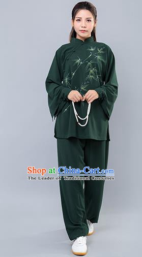 Top Grade Chinese Kung Fu Green Costume Martial Arts Ink Painting Bamboo Uniform, China Tai Ji Wushu Clothing for Women