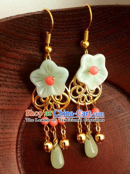 Traditional Handmade Chinese Ancient Princess Accessories Classical Green Flower Tassel Earrings for Women