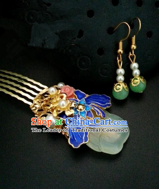 Traditional Handmade Chinese Ancient Classical Hair Accessories Blueing Hairpins and Earrings for Women