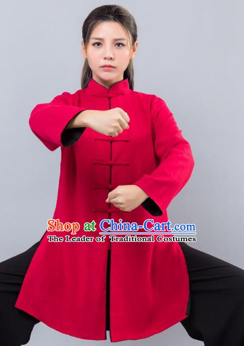 Top Grade Chinese Kung Fu Red Costume Martial Arts Uniform, China Tai Ji Wushu Clothing for Women