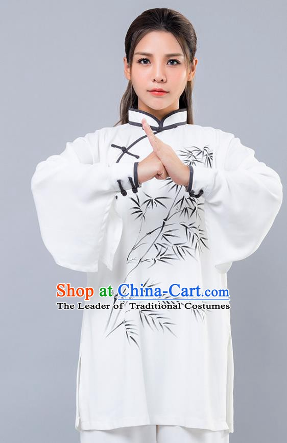 Top Grade Chinese Kung Fu Costume Martial Arts Ink Painting Bamboo Uniform, China Tai Ji Wushu Clothing for Women