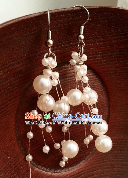 Traditional Handmade Chinese Ancient Princess Accessories Classical Beads Earrings for Women