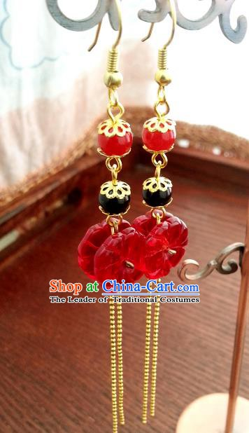Traditional Handmade Chinese Ancient Princess Hanfu Eardrop Accessories Classical Red Earrings for Women