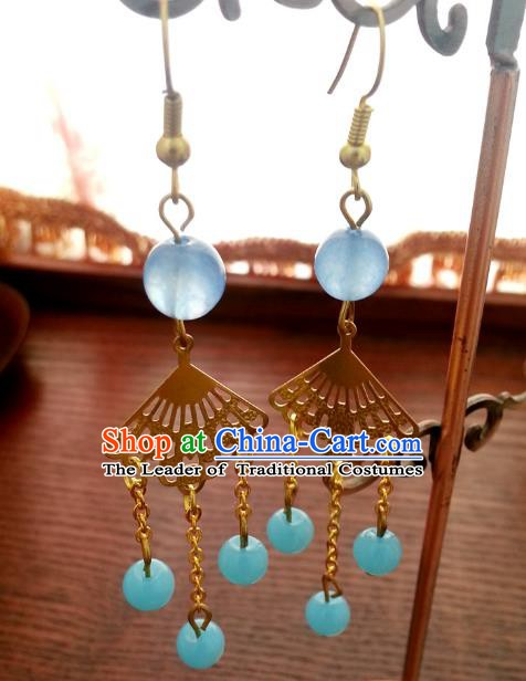 Traditional Handmade Chinese Ancient Princess Hanfu Eardrop Accessories Classical Blue Beads Tassel Earrings for Women
