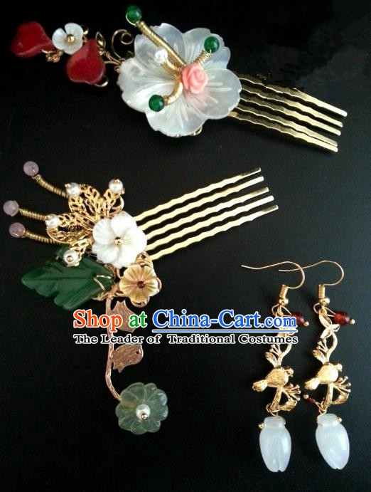 Traditional Handmade Chinese Ancient Classical Hair Accessories Hairpins Hair Comb and Earrings for Women