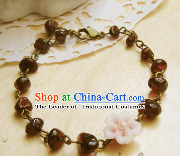 Traditional Handmade Chinese Ancient Classical Accessories Garnet Bracelets for Women