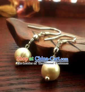 Traditional Handmade Chinese Ancient Princess Hanfu Eardrop Classical Pearl Earrings for Women