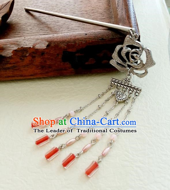 Traditional Handmade Chinese Ancient Classical Hair Accessories Rose Tassel Hairpins Headwear for Women