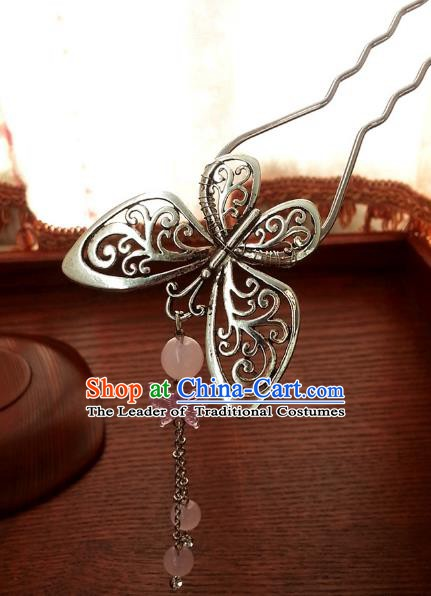 Traditional Handmade Chinese Ancient Classical Hair Accessories Butterfly Tassel Hairpins Headwear for Women