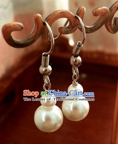 Traditional Handmade Chinese Ancient Princess Hanfu Eardrop Classical Pearls Earrings for Women