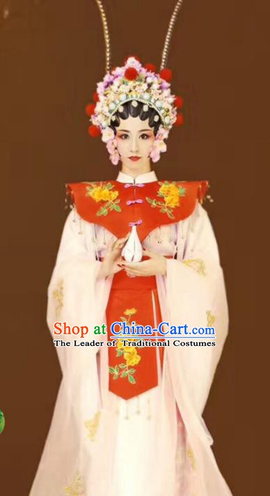 Asian Chinese Ancient Beijing Opera Actress Costume and Handmade Headpiece Complete Set