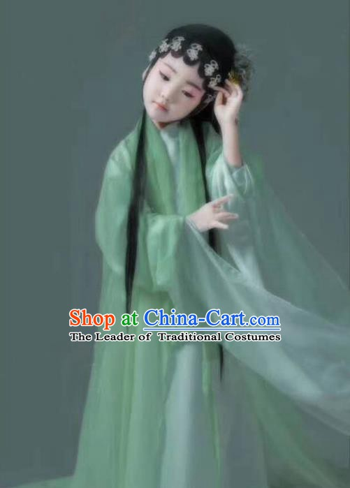 Asian Chinese Ancient Beijing Opera Princess Costume and Handmade Headpiece Complete Set for Kids