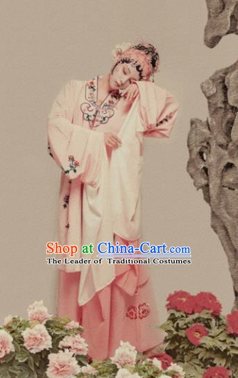 Chinese Ancient Peking Opera Young Lady Embroidered Costume and Handmade Headpiece Complete Set