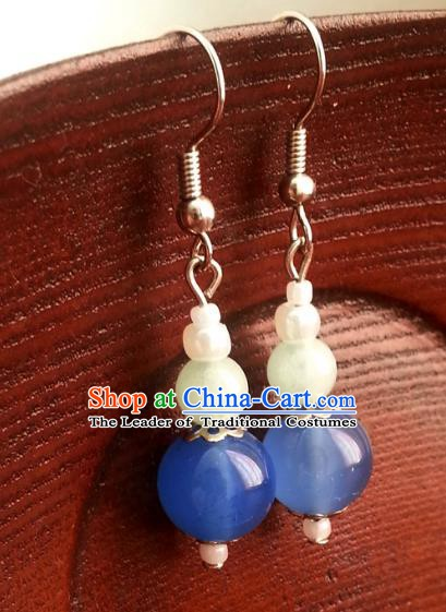 Traditional Chinese Handmade Ancient Princess Hanfu Blue Beads Eardrop Classical Palace Lady Earrings for Women