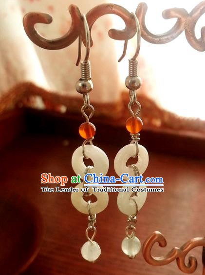 Traditional Chinese Handmade Ancient Princess Hanfu Jade Eardrop Classical Palace Lady Earrings for Women