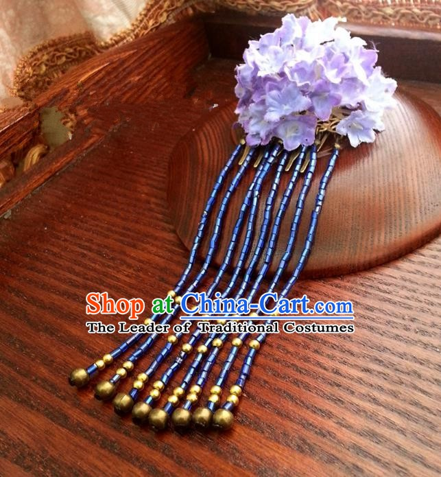 Traditional Chinese Handmade Classical Hair Accessories Purple Flowers Step Shake Ancient Hanfu Hairpins for Women
