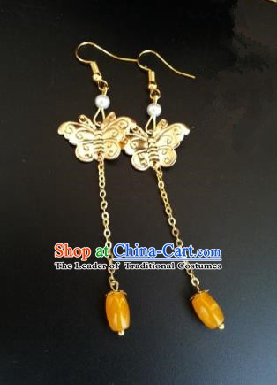 Traditional Chinese Handmade Classical Golden Butterfly Eardrop Ancient Palace Queen Hanfu Earrings for Women