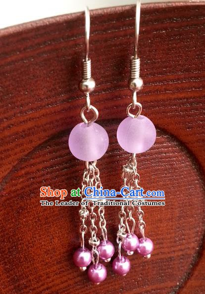 Traditional Chinese Handmade Classical Pink Beads Eardrop Ancient Palace Queen Hanfu Earrings for Women