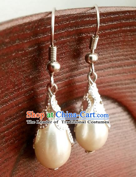 Traditional Chinese Handmade Classical Hanfu Pearl Eardrop Ancient Palace Queen Earrings for Women