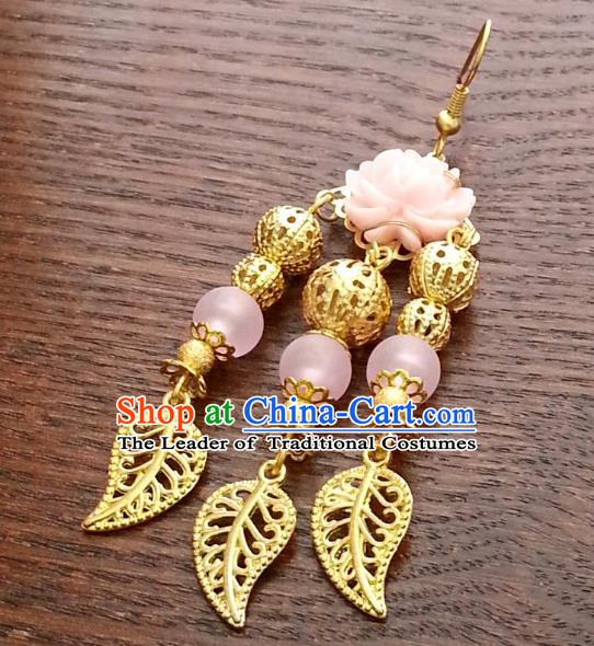 Traditional Chinese Handmade Classical Hanfu Golden Tassel Eardrop Ancient Palace Queen Earrings for Women