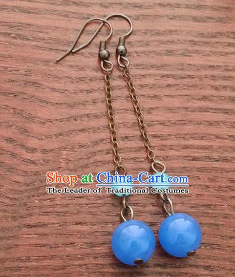 Traditional Chinese Handmade Classical Hanfu Blue Bead Eardrop Ancient Palace Princess Earrings for Women
