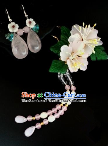 Handmade Traditional Chinese Classical Hair Accessories Ancient Tassel Hairpins and Earrings for Women