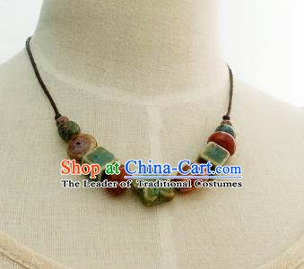 Traditional Chinese Handmade Classical Accessories Ceramics Necklace for Women