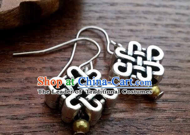 Traditional Chinese Handmade Classical Hanfu Chinese Knot Eardrop Ancient Palace Princess Earrings for Women