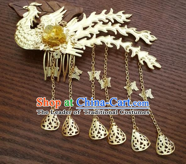 Traditional Handmade Chinese Classical Hair Accessories Ancient Bride Phoenix Hairpins for Women