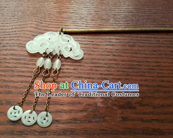 Traditional Handmade Chinese Classical Jade Hair Accessories Ancient Queen Tassel Hairpins Hair Clip for Women