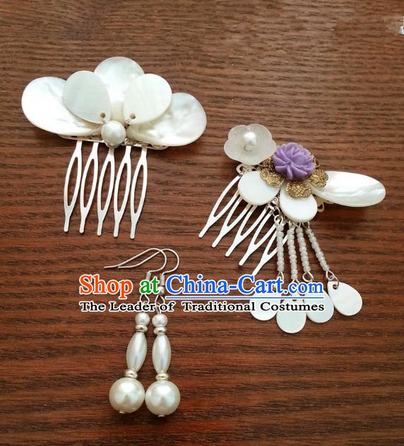 Traditional Handmade Chinese Classical Hair Accessories Ancient Princess Hairpins Hair Comb and Earrings for Women