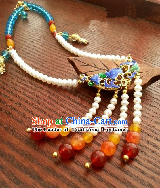 Traditional Chinese Handmade Classical Accessories Necklace Tassel Blueing Necklet for Women
