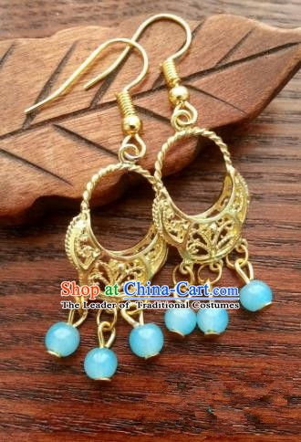 Asian Chinese Traditional Handmade Classical Hanfu Golden Eardrop Ancient Palace Princess Earrings for Women