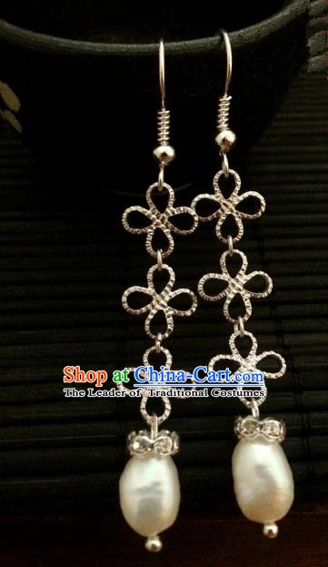 Asian Chinese Traditional Handmade Hanfu Classical Pearl Eardrop Ancient Palace Princess Earrings for Women
